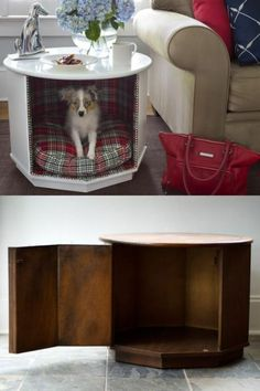 End-Table-With-Dog-Bed octagon cat bed table End Table Dog Bed, Coffee Table Dog Bed, Diy End Tables, Diy Dog Bed, Dog Furniture, Dog Crate, Pet Beds, Dog Houses, Elmo