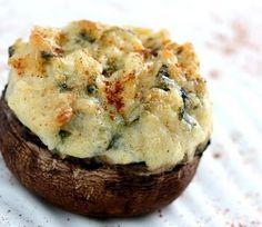 Mushrooms Neptune - Cream cheese, sour cream, swiss cheese, garlic, shrimp, crab meat, green onions..  yum!