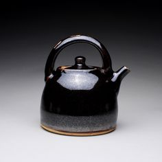 handmade teapot, tea kettle, ceramic pot with black tenmoku and white glazes by rmoralespottery on Etsy https://www.etsy.com/listing/161121246/handmade-teapot-tea-kettle-ceramic-pot