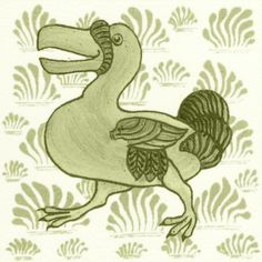 William De Morgan: Fantastic Animal - Dodo. Available in red, green and blue
