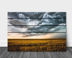 Storm Photography, Landscape Photography, Rolling Thunder, Wheat Fields, Storm Clouds, Print Pictures, Wood Pallets, Wall Art Decor, Photo Wall Art