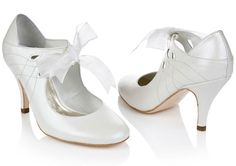 Lola by Rachel Simpson  8 CM Heel. Full sizes. Ivory suede shoes for both the modern and vintage-loving bride.