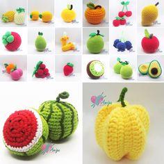 Crochet Food Fruit Knitting And Crocheting - Knitting Crochet Fruit, Crochet Food, Crochet Gifts, Crochet Flowers, Kawaii Crochet, Cute Crochet, Crochet Amigurumi Free Patterns, Crochet Dolls, Amigurumi Tutorial