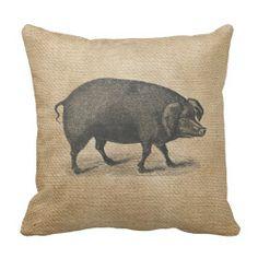 Big Pig Burlap throw pillow