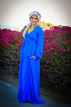 AboutThatWrap : RAYAN Evening Gown- Long Sleeve Electric Blue Wrap Dress