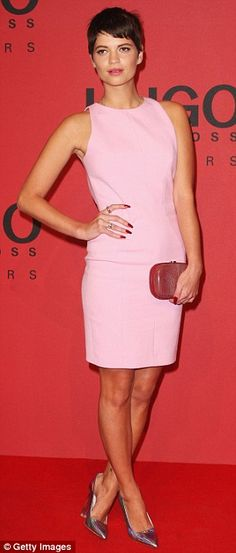 Pretty in pink: Pixie Geldoff  in Hugo Boss