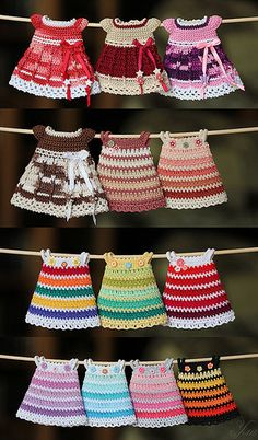 The last part of the summer dresses on pukifee-lati yello… Tule and crochet dress idea for amigurumi dolls. Письмо new Pins for your doll cloth board New patterns by Little cotton rabbits Dolls dresses or use as inspiration to make baby clothes. Crochet Doll Dress, Crochet Doll Clothes, Crochet Doll Pattern, Knitted Dolls, Doll Clothes Patterns, Clothing Patterns, Knit Crochet, Crochet Patterns, Crochet Design