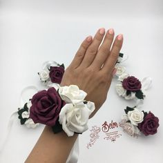 Corsage and boutonniere set. Prom Corsage And Boutonniere, Bridesmaid Corsage, Brooch Corsage, Rose Corsage, Rose Boutonniere, Corsage Wedding, Corsages, Corsage Formal, Marsala