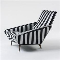 Bon Chaise   By Gio Ponti Striped Lounge Chair