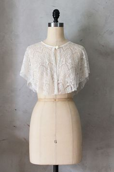 CHANTILLY - Draped ivory cream lace capelet topper // jacket // cape // vintage inspired // topper // cocktail party // shawl wrap // gatsby...