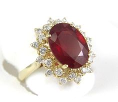Fine Oval Red Ruby Lady's Ring w/Diamond Halo 6.40Ct 14k Yellow Gold #DD #SolitairewithAccents