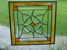 Orange Yellow Stained Glass Beveled Window Panel