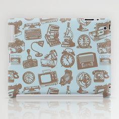 blue vintage pattern ipad case by flying bathtub