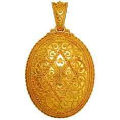 Etruscan Filigree Yellow Gold Locket | From a unique collection of vintage drop necklaces at http://www.1stdibs.com/jewelry/necklaces/drop-necklaces/
