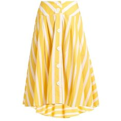 Thierry Colson Romane striped cotton-poplin skirt (£470) ❤ liked on Polyvore featuring skirts, yellow stripe, striped asymmetrical skirt, knee length skirts, flared skirt, summer skirts and flare skirts