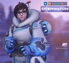 """Mei, from the FPS/MOBA """"Overwatch."""" Brainy little cutie dressed for winter, with a nasty little gun that projects ice walls, freezes, and shoots icicles."""