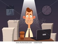 Funny Cartoon Character. Tired Office Worker Sitting and Working All Night. Vector Illustration