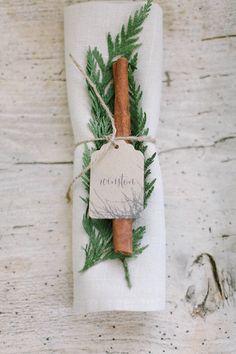Cinnamon Stick and Pine Napkin Decor