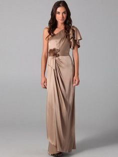 FINCIY NZD$152 on sale now  2012 Style Sheath One Shoulder Hand-Made Flower Sleeveless Floor-length Elastic Woven Satin Burgundy Evening Dresses NZ
