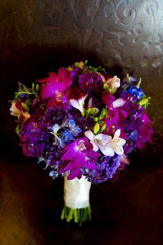 Jewel Tone Wedding Bouquet: Blue Delphinium, Purple Stock, Fuchsia & Magenta Orchids, Lavender/White Freesia××××