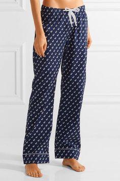 Three J NYC - Jamie Printed Cotton-poplin Pajama Set - Storm blue - x large