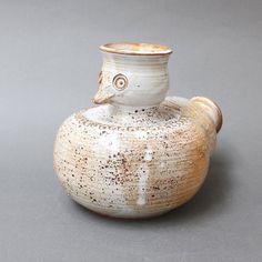 Glazed Ceramic Stylised Bird Vase by Dominique Pouchain (circa Ceramic Birds, Ceramic Animals, Raku Pottery, Dominique, Vase, Animal Sculptures, Glazed Ceramic, Ceramics, 1980s