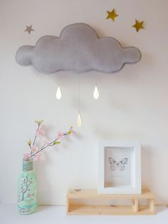THE Big Grey Rain cloud with Gold raindrops by The Butter Flying. $70.00, via Etsy.