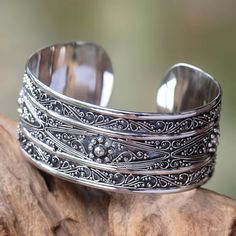 Novica Hand-crafted Sterling 'Midnight Lace' Bracelet