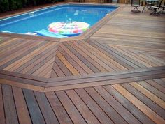 Love this Wood pool deck
