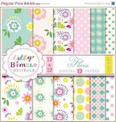 50 off Floral digital papers for cards scrapbooking by LillyBimble, $2.25