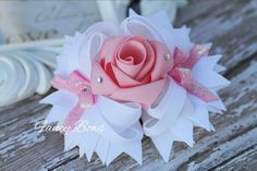 White and Pink Fancy Rose Stacked boutique bow Easter by fancybows Ribbon Hair Bows, Diy Hair Bows, Diy Bow, Glitter Ribbon, Hair Bow Tutorial, Flower Tutorial, Boutique Hair Bows, Making Hair Bows, Diy Hair Accessories
