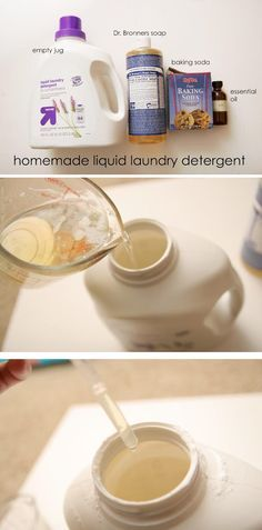 Make some homemade all natural laundry detergent with just a few1 cup liquid Dr. Bronner's Soap 1 cup baking soda 30 drops essential oil (optional)simple ingredients!