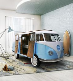 This is a recreated VW bus/bed. Includes storage compartments, a TV, mini fridge, sofa, desk, and of course the bed itself.