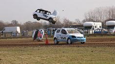 Racer flips car as he collides with team mate's motor and BOUNCES 30 foo...