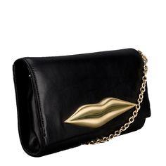 Diane von Furstenberg CAROLINA LIP Shoulder Bag in Black Leather with Gold Hardware