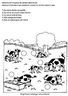 coloriage_le_pre_des_vaches.gif Cow Craft, Cow Pattern, Bible Crafts, Teaching French, Painting Patterns, Preschool, Give It To Me, Education, Logos