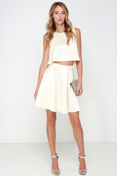 See and Be Sheen Cream Beaded Two-Piece Dress at Lulus.com!