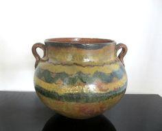 Rare Antique Montiel Family Earthy Green Majolica Olla Pottery From Guatemala