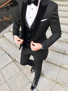 Custom Black Terno Masculino Slim Fit Men Suits Blazers Groom Wedding Tuxedos Peaked Lapel With Velvet Vest Coat Pants - Wedding suits - Party Suit For Man, Party Suits, Men Party, Man In Suit, Suit For Men, Slim Fit Tuxedo, Tuxedo For Men, Tuxedo Suit, Slim Suit