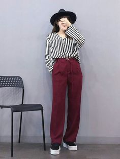 Image may contain: one or more people and stripesYou can find Korean beauty and more on our website. Korean Girl Fashion, Korean Fashion Trends, Ulzzang Fashion, Korea Fashion, Kpop Fashion, Japanese Fashion, Cute Fashion, Asian Fashion, Hijab Fashion