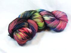 Hand Dyed BFL Sock Yarn in Punky Rainbow by DragonflyDyewerx, $25.00