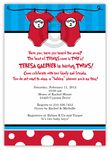 Thing 1 & Thing 2 Girl-Boy Twin Baby Shower Invitation