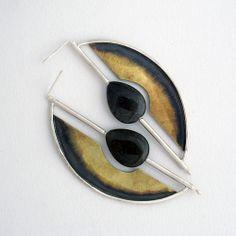 Mixed Metal Geometric Earrings_5428a