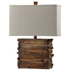1-Light Faux Wood Layered Table Lamp in Natural - www.BedBathandBeyond.com