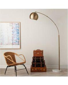 Vintage Brass Arc Floor Lamp Mid Century Orb Lamp Metallic