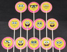 Check out this item in my Etsy shop https://www.etsy.com/listing/263766488/spongebob-squarepants-cupcake-toppers-12