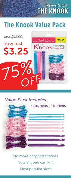 Now anyone can knit -- with the Knook, a specialized crochet hook from Leisure Arts that replaces traditional knitting needles. No more dropped stitches to chase after! A cord threaded through the Knook handle keeps them secure! This Value Pack of 10 Knooks and 10 cords gives you the 10 most popular sizes.
