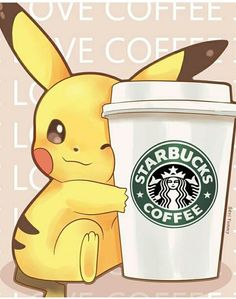 Imagen de starbucks, pikachu, and pokemon
