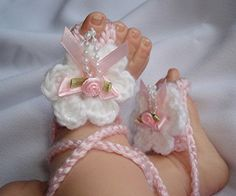 Boutique Barefoot Baby Sandals by Alex1946 on Etsy, $15.00
