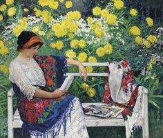 Nikolai Petrovich Bogdanov-Belsky (Russian Painter, 1868-1945)  Reading in the Garden 1915